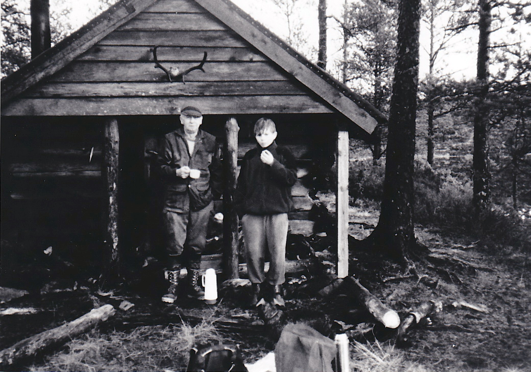 The hut named 'Little Canada' built and equipped by Norwegian helper Frederik Ovredal [left] that housed Canadian evaders prior to their rescue by the Shetland Bus.